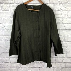 Eileen Fisher Olive Green Knot Button Jacket
